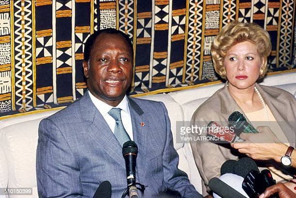 Crisis in Ivory Coast Dominique Ouatarra in Abidjan Côte D'Ivoire on December 29 1999 With his wife