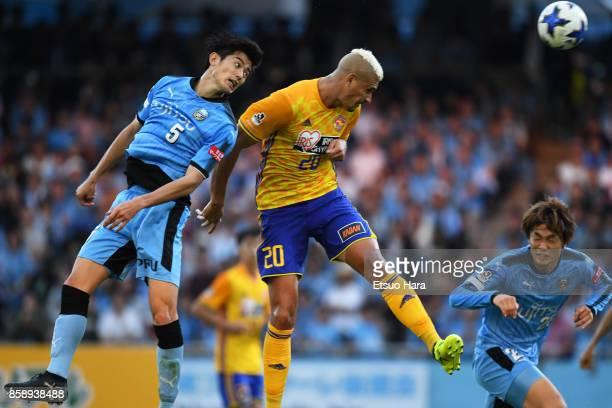 Crislan of Vegalta Sendai and Shogo Taniguchi of Kawasaki Frontale compete for the ball during the JLeague Levain Cup semi final second leg match...