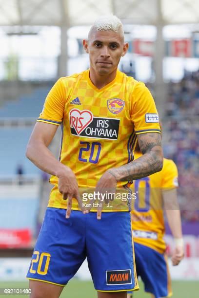 Crislan of Vegalta Sendai celebrates scoring his side's second goal during the JLeague J1 match between Vegalta Sendai and Ventforet Kofu at Yurtec...