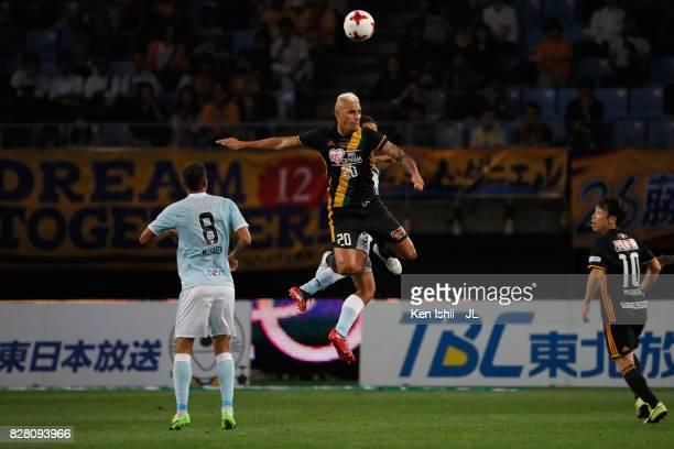 Crislan of Vegalta Sendai heads the ball during the JLeague J1 match between Vegalta Sendai and Jubilo Iwata at Yurtec Stadium Sendai on August 9...
