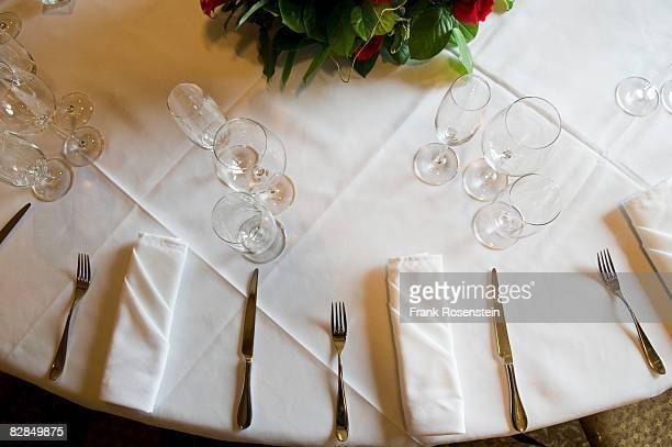 crisp linen on dining table