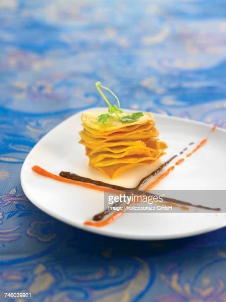 Crisp Mille-feuille,cream of blood sausage and cream of Chorizo