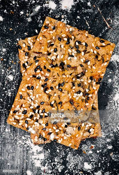 Crispbread with thyme on metal sheet, directly above