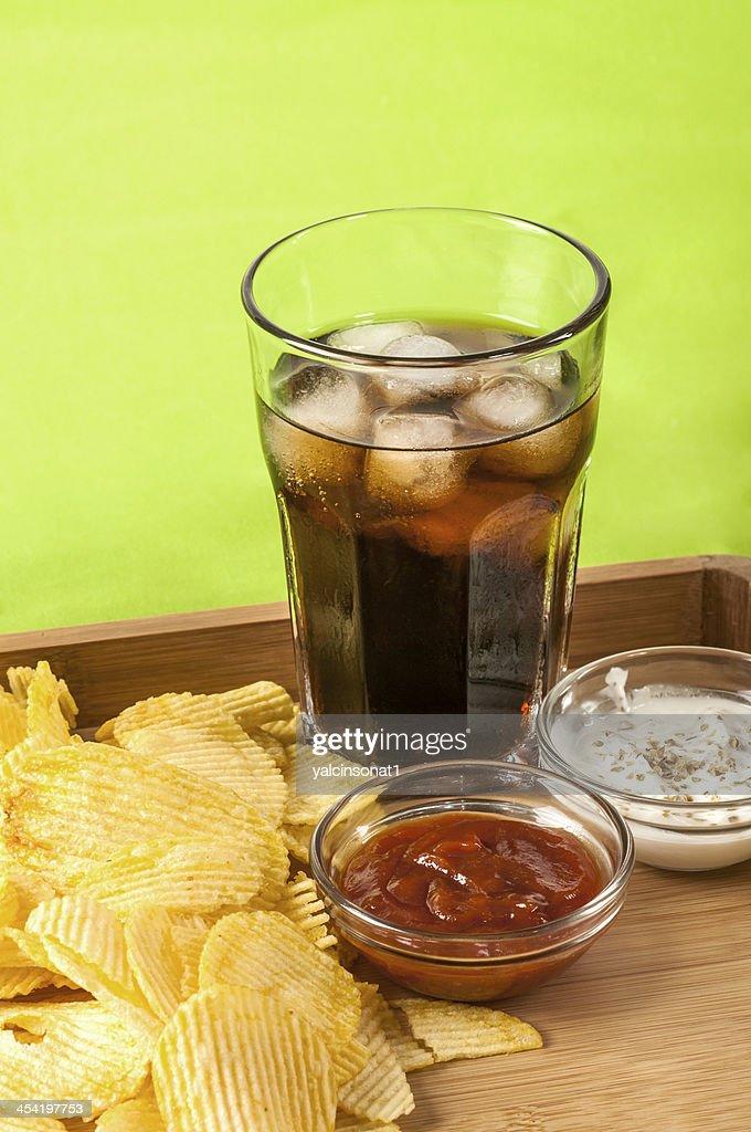 crisps and coke : Stock Photo