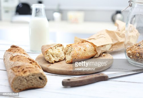 Crispy and fresh bread : Stock Photo