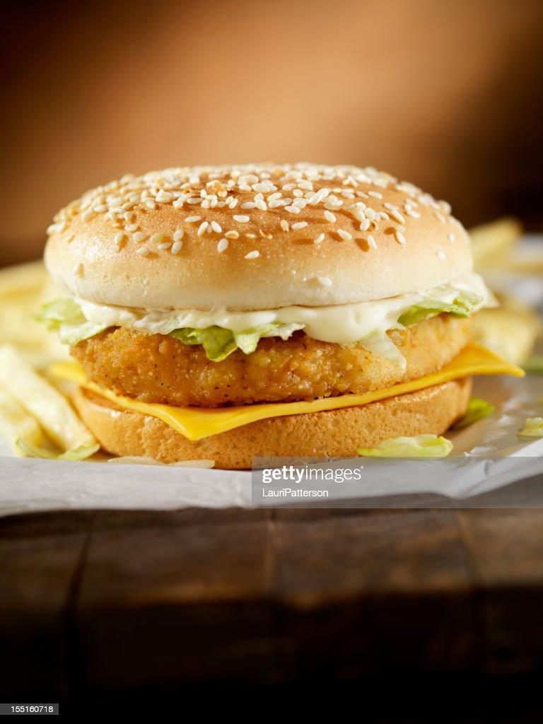 Crispy Chicken Burger : Stock Photo
