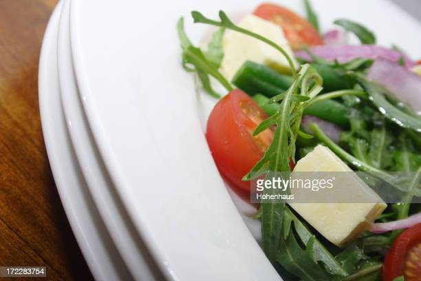 crispy fresh salad with tomatoes and beans