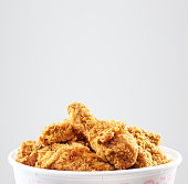 crispy kentucky fried chicken bucket in a white background