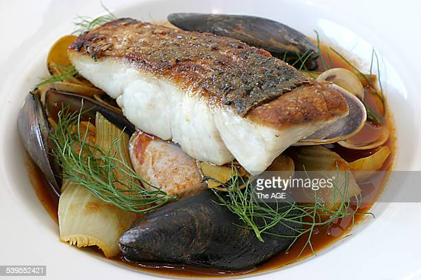 Crispy skin Barramundi with Mussels clams and pippies in a baby turnip and fennel broth from Estivo at 330 High Sreet Kew 11th March 2005 THE AGE...