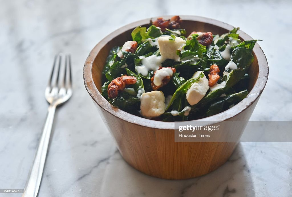Crispy spinach salad made by Amol Patil, executive head chef, 145 Kala Ghoda Restaurant, during an exclusive interview with ht48hours-Hindustan Times, at the Khyber, Fort, Matunga, on June 15, 2016 in Mumbai, India.