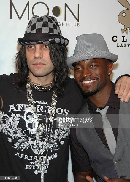 Criss Angel and Taye Diggs during Playboy Club Grand Opening at Palms Casino Resort October 7 2006 at Palms Casino Resort in Las Vegas Nevada United...