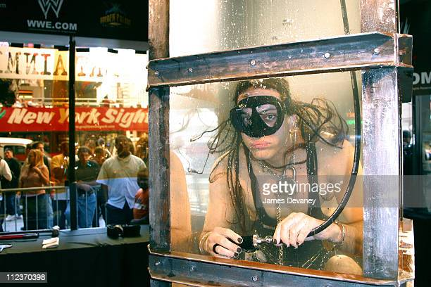Criss Angel during Illusionist Criss Angel Submerges Himself in a 220Gallon Water Torture Cell at The World in New York City New York United States