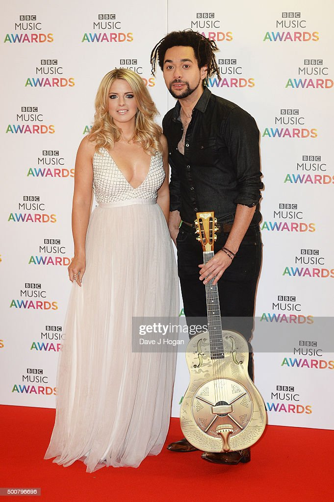 Crissie Rhodes and Ben Earle of The Shires attend the BBC Music Awards at Genting Arena on December 10, 2015 in Birmingham, England.