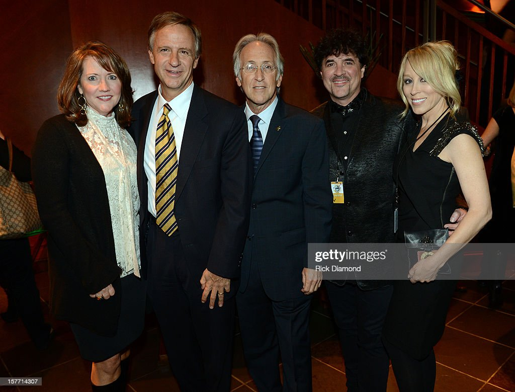 Crissy Haslam, Governor of Tennessee Bill Haslam, Recording Academy President <a gi-track='captionPersonalityLinkClicked' href=/galleries/search?phrase=Neil+Portnow&family=editorial&specificpeople=208909 ng-click='$event.stopPropagation()'>Neil Portnow</a>, Big Machine Records' <a gi-track='captionPersonalityLinkClicked' href=/galleries/search?phrase=Scott+Borchetta&family=editorial&specificpeople=4462508 ng-click='$event.stopPropagation()'>Scott Borchetta</a> and Sanday Borchetta attend The GRAMMY Nominations Concert Live!! pre-show reception held at Bridgestone Arena on December 5, 2012 in Nashville, Tennessee.