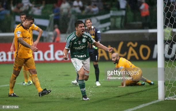 Cristaldo of Palmeiras celebrates scoring the first goal during a match between Palmeiras and Rosario as part of Group 2 of Copa Bridgestone...