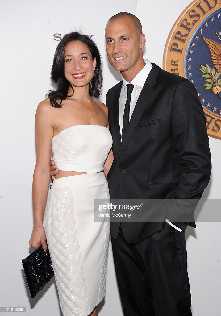Cristen Barker (L) and Photographer <a gi-track='captionPersonalityLinkClicked' href=/galleries/search?phrase=Nigel+Barker&family=editorial&specificpeople=691819 ng-click='$event.stopPropagation()'>Nigel Barker</a> attend 'White House Down' New York Premiere at Ziegfeld Theater on June 25, 2013 in New York City.