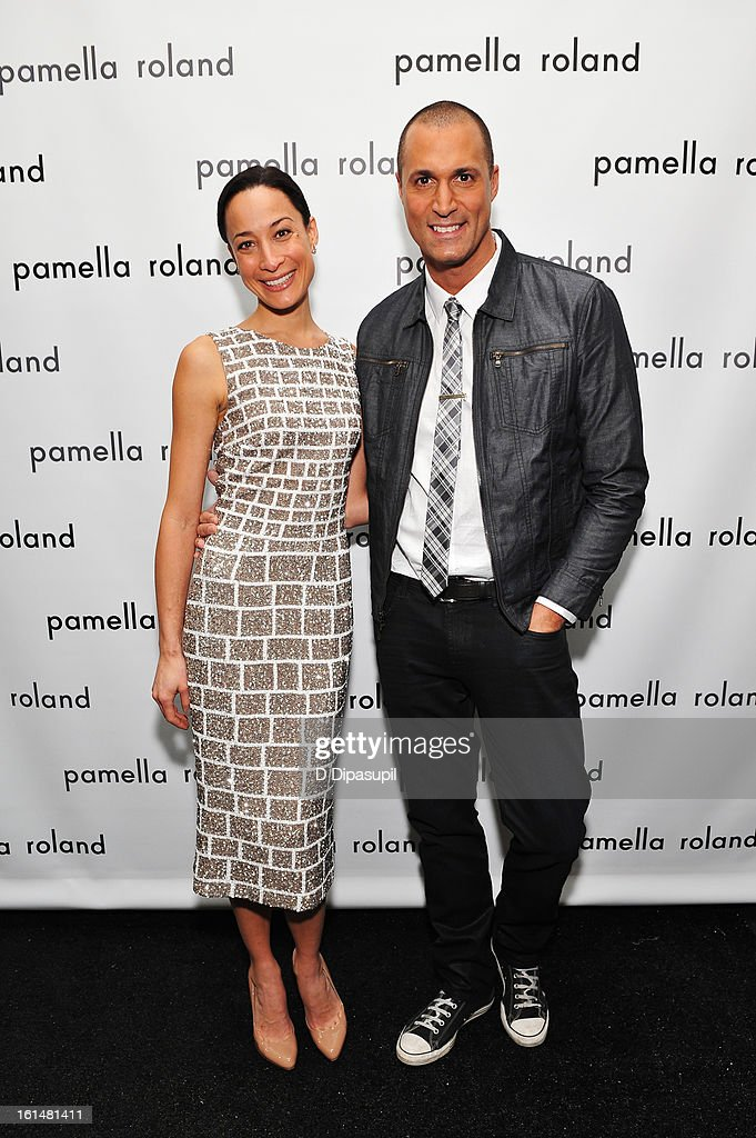 Cristen Barker and Photographer <a gi-track='captionPersonalityLinkClicked' href=/galleries/search?phrase=Nigel+Barker&family=editorial&specificpeople=691819 ng-click='$event.stopPropagation()'>Nigel Barker</a> pose backstage at the Pamella Roland Fall 2013 fashion show during Mercedes-Benz Fashion Week at at The Studio at Lincoln Center on February 11, 2013 in New York City.