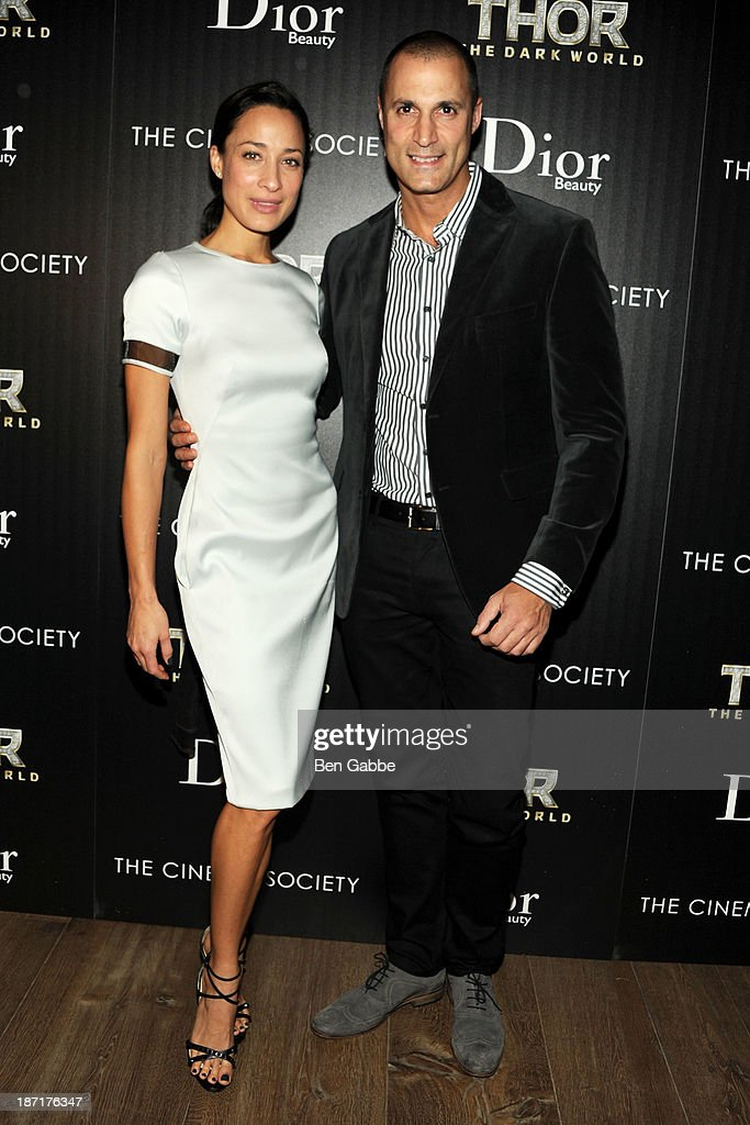 Cristen Chin Barker and Nigel Barker attend a screening of 'Thor The Dark World hosted by The Cinema Society and Dior Beauty at 79 Crosby Street on...
