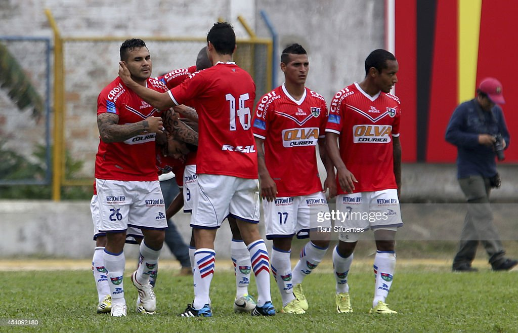Cristhian Bogado of Union Comercio celebrates a scored goal against Sporting Cristal during a match between Union Comercio and Sporting Cristal as part of round 14 of Torneo Apertura 2014 at IPD de Moyobamba Stadium on August 24, 2014 in Moyobamba, Peru.