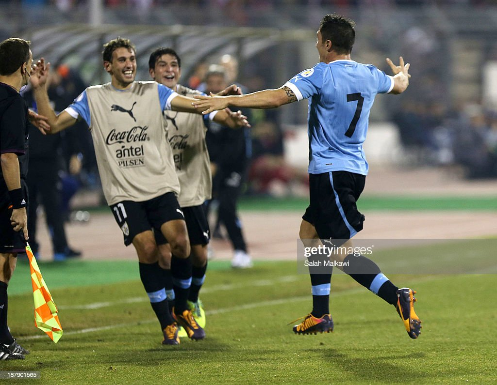 Cristhian Rodriguez of Uruguay celebrates during the FIFA 2014 World Cup Qualifier: Intercontinental Play-off First Leg between Jordan and Uruguay on November 13, 2013 in Amman, Jordan.