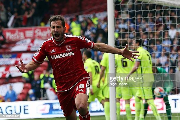 Cristhian Stuani of Middlesbrough celebrates scoring during the Sky Bet Championship match between Middlesbrough and Brighton and Hove Albion at the...