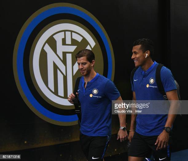 Cristian Ansaldi and Jeison Murillo of FC Internazionale look on prior to the 2017 International Champions Cup match between FC Internazionale and...