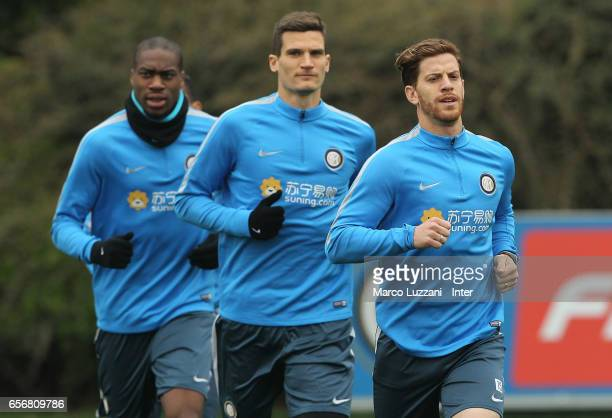 Cristian Ansaldi Marco Andreolli Rodrigo Palacio and Geoffrey Kondogbia Icardi run during the FC Internazionale training session at the club's...