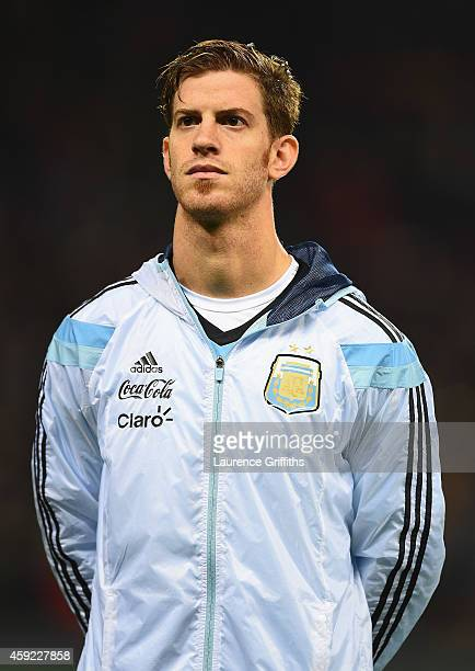 Cristian Ansaldi of Argentina lines up for the International Friendly match between Argentina and Portugal at Old Trafford on November 18 2014 in...