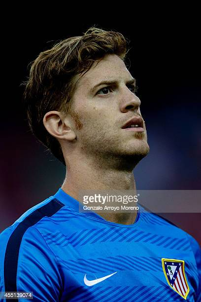 Cristian Ansaldi of Atletico de Madrid walks on during his warming up prior to start the La Liga match between Club Atletico de Madrid and SD Eibar...