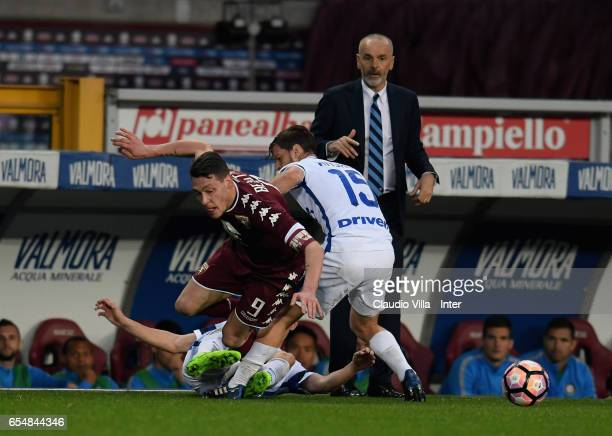 Cristian Ansaldi of FC Internazionale and Andrea Belotti of FC Torino compete for the ball during the Serie A match between FC Torino and FC...