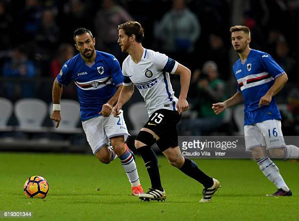 Cristian Ansaldi of FC Internazionale in action during the Serie A match between UC Sampdoria and FC Internazionale at Stadio Luigi Ferraris on...