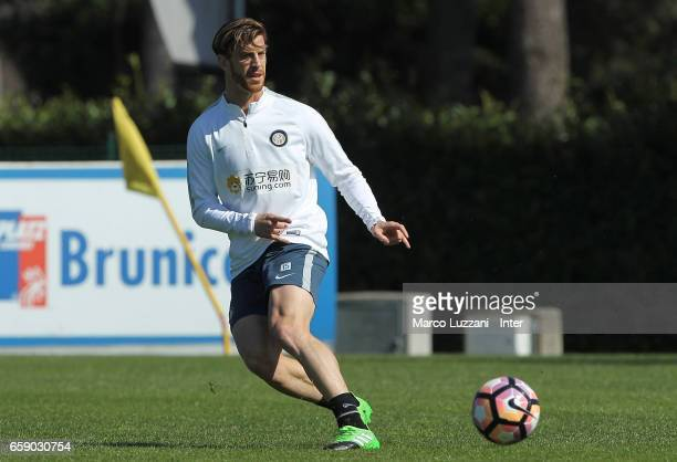 Cristian Ansaldi of FC Internazionale kicks a ball during the FC Internazionale training session at the club's training ground Suning Training Center...