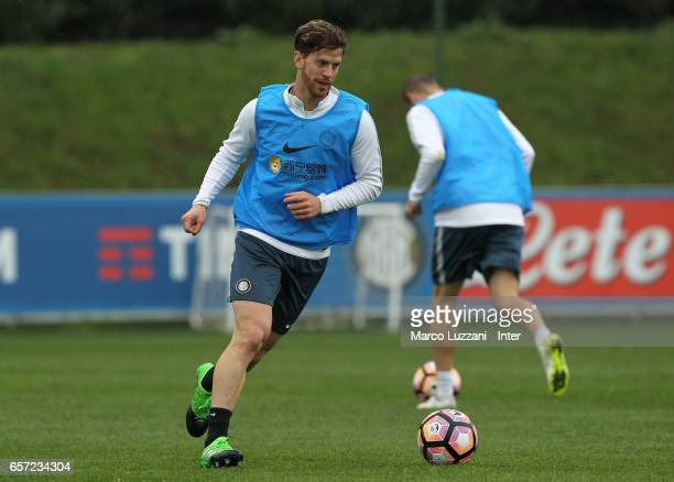 Cristian Ansaldi of FC Internazionale Milano in action during the FC Internazionale training session at the club's training ground Suning Training...
