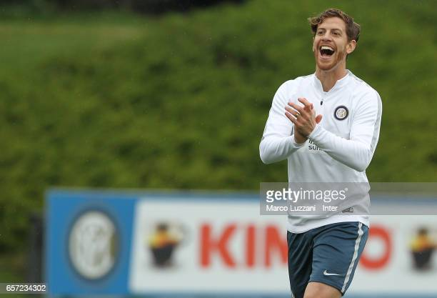 Cristian Ansaldi of FC Internazionale Milano reacts during the FC Internazionale training session at the club's training ground Suning Training...