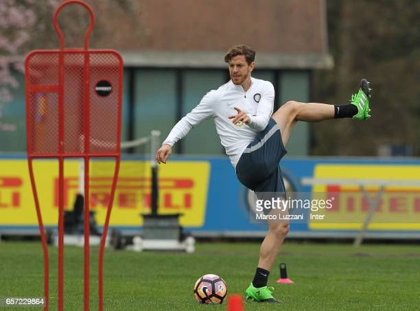 Cristian Ansaldi of FC Internazionale Milano trains during the FC Internazionale training session at the club's training ground Suning Training...
