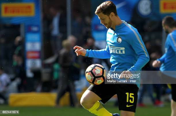 Cristian Ansaldi of FC Internazionale warms up ahead of the Serie A match between FC Internazionale and Atalanta BC at Stadio Giuseppe Meazza on...