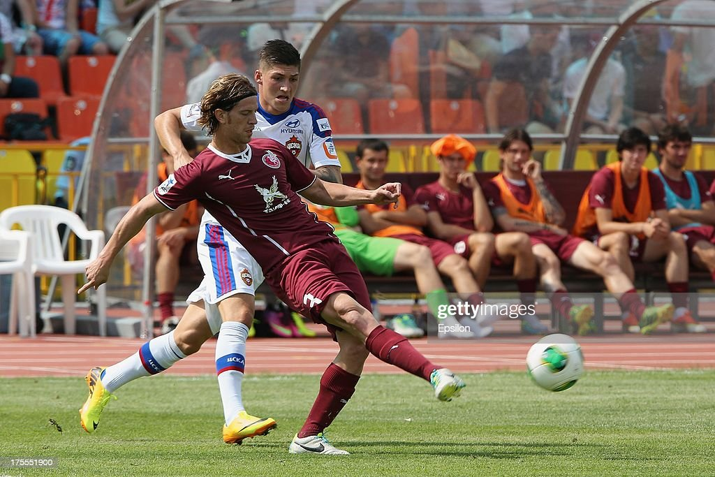 Cristian Ansaldi of FC Rubin Kazan battles for the ball with Steven Zuber of PFC CSKA Moscow during the Russian Premier League match between PFC CSKA Moscow and FC Rubin Kazan at the Tsentralny Stadium on August 4, 2013 in Kazan, Russia.