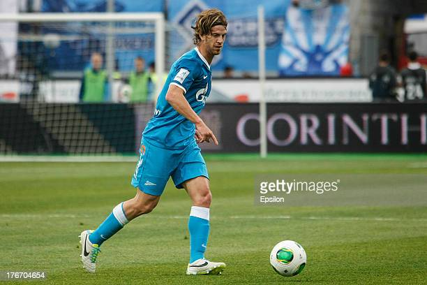 Cristian Ansaldi of FC Zenit St Petersburg controls the ball during the Russian Premier League match between FC Zenit St Petersburg and FC Anzhi...