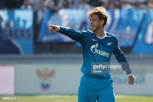 Cristian Ansaldi of FC Zenit St Petersburg gestures during the Russian Football League Championship match between FC Zenit St Petersburg and FC Volga...