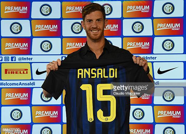 Cristian Ansaldi poses for a photo during the FC Internazionale press conference at the club's training ground at Appiano Gentile on August 11 2016...