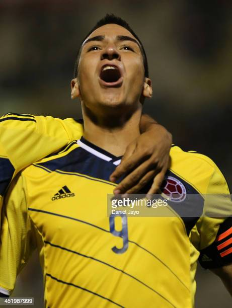 Cristian Arango of Colombia celebrates after scoring during the football final match between Colombia and Ecuador as part of the XVII Bolivarian...