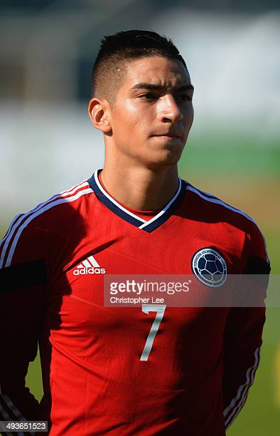 Cristian Arango of Colombia in action during the Toulon Tournament Group B match between Brazil and Colombia at the Stade Perruc on May 24 2014 in...