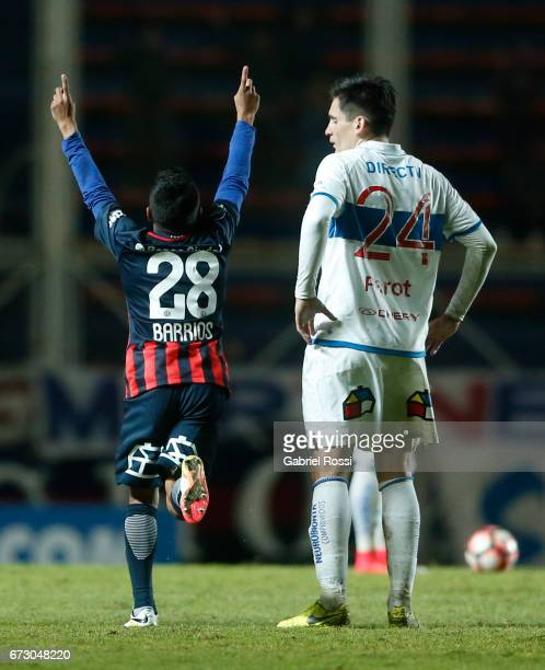 Cristian Barrios of San Lorenzo celebrates after scoring the second goal of his team during a match between San Lorenzo and Universidad Catolica as...