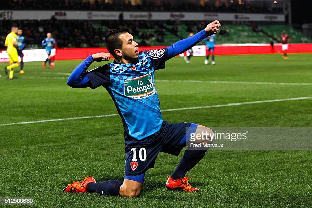 Cristian BATTOCCHIO of Brest celebrate his goal during the french ligue 2 match between FC Metz v Brest on February 26 2016 in Metz France