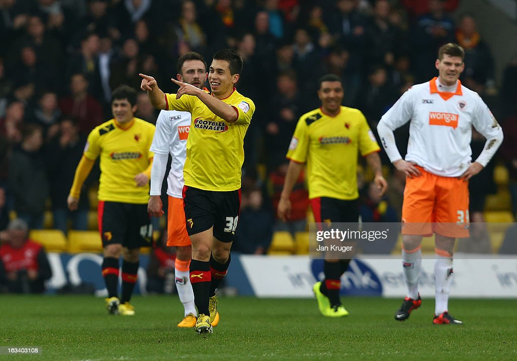 Cristian Battocchio of Watford (c) celebrates his goal during the npower Champions match between Watford and Blackpool at Vicarage Road on March 9, 2013 in Watford, England.