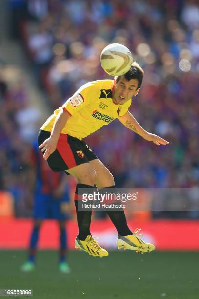 Cristian Battocchio of Watford heads the ball during the npower Championship Playoff Final match between Watford and Crystal Palace at Wembley...
