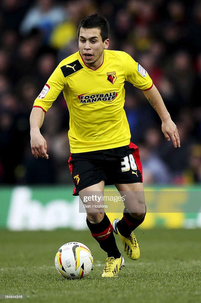 Cristian Battocchio of Watford in action during the npower Championship match between Watford and Burnley at Vicarage Road on March 29, 2013 in Watford, England.