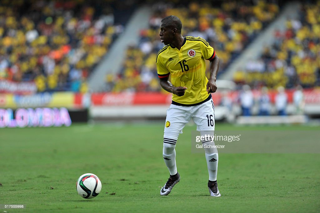 Cristian Borja of Colombia in action during a U-23 Olympic Qualifying Playoff match between Colombia and USA at Metropolitano Roberto Melendez Stadium on March 25, 2016 in Barranquilla, Colombia.
