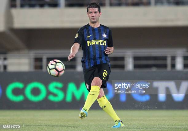 Cristian Chivu of Inter Forever in action during the friendlt match between Greece 2004 and Inter Forever at Pankrition Stadium on June 7 2017 in...