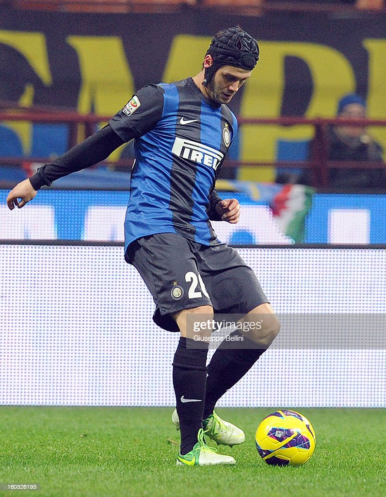 Cristian Chivu of Inter in action during the Serie A match between FC Internazionale Milano and Torino FC at San Siro Stadium on January 27, 2013 in Milan, Italy.